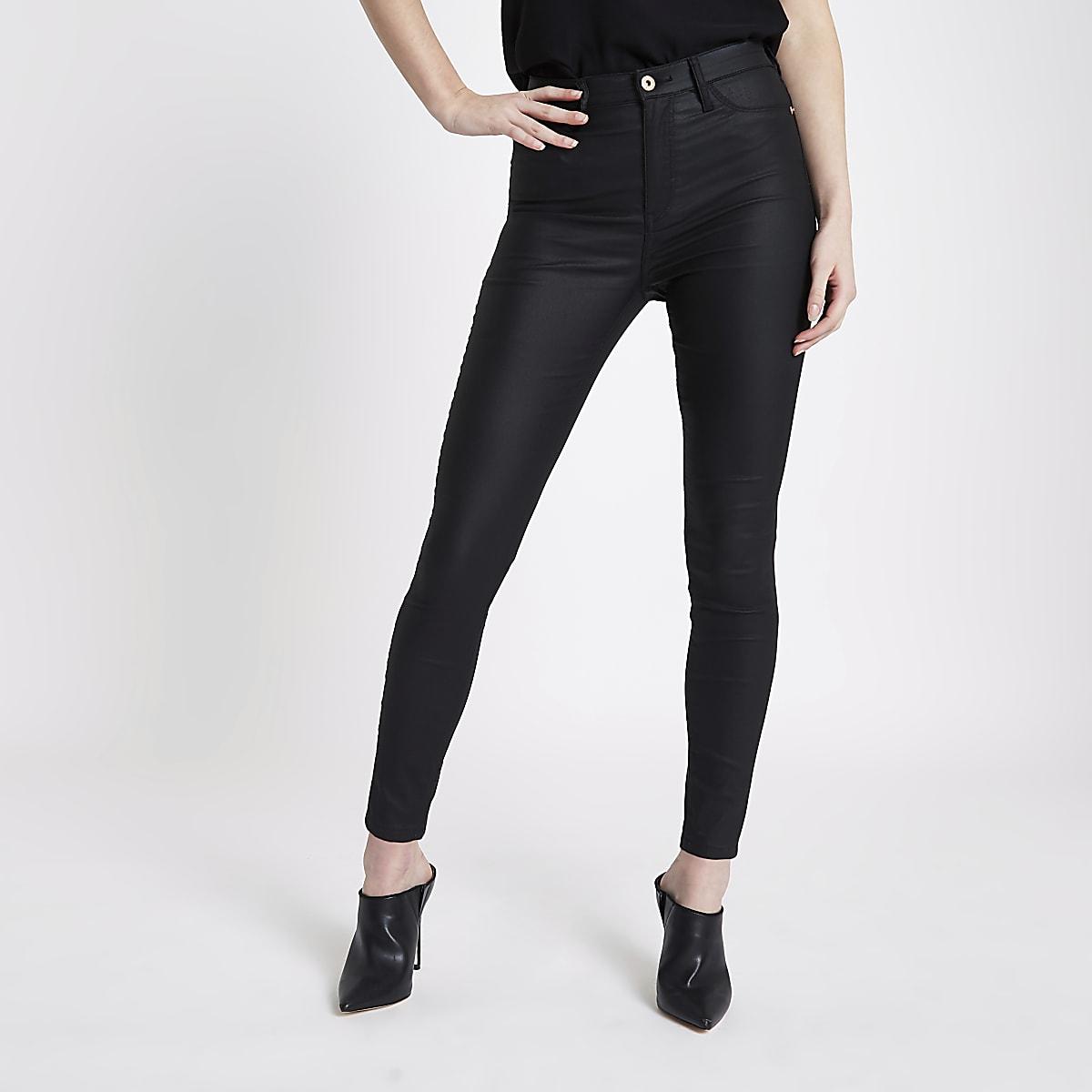 d201749fc10ac Harper – Jean taille haute noir enduit - Jeans skinny - Jeans - Femme
