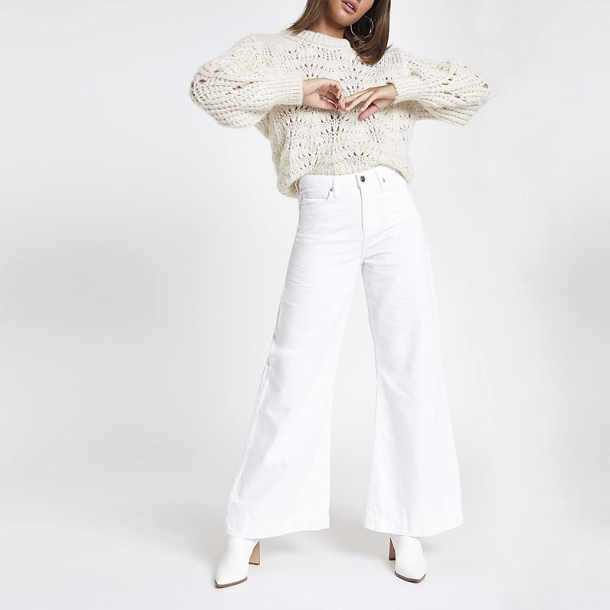 Mila - Witte jeans met wijde pijpen