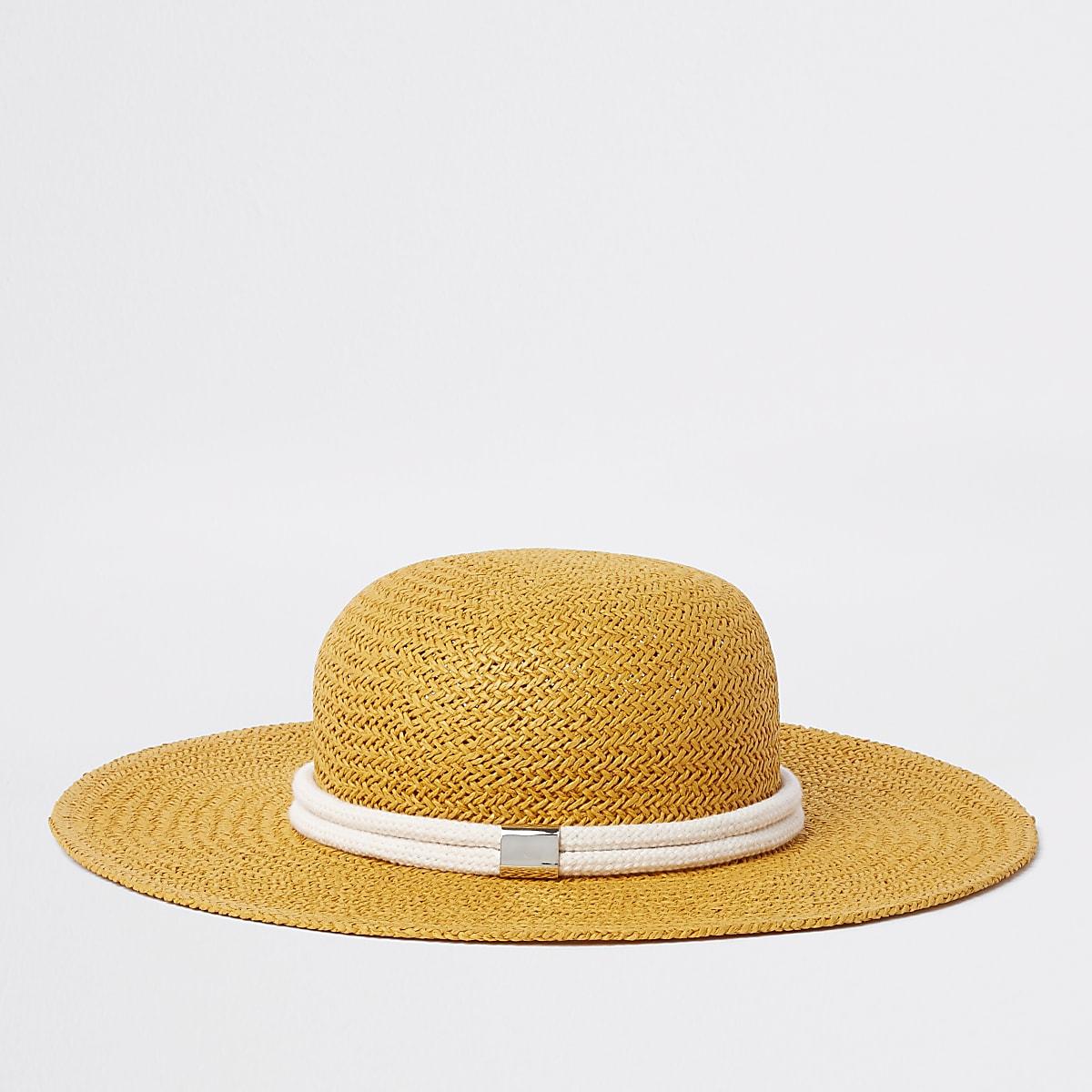 Yellow woven straw rope trim hat