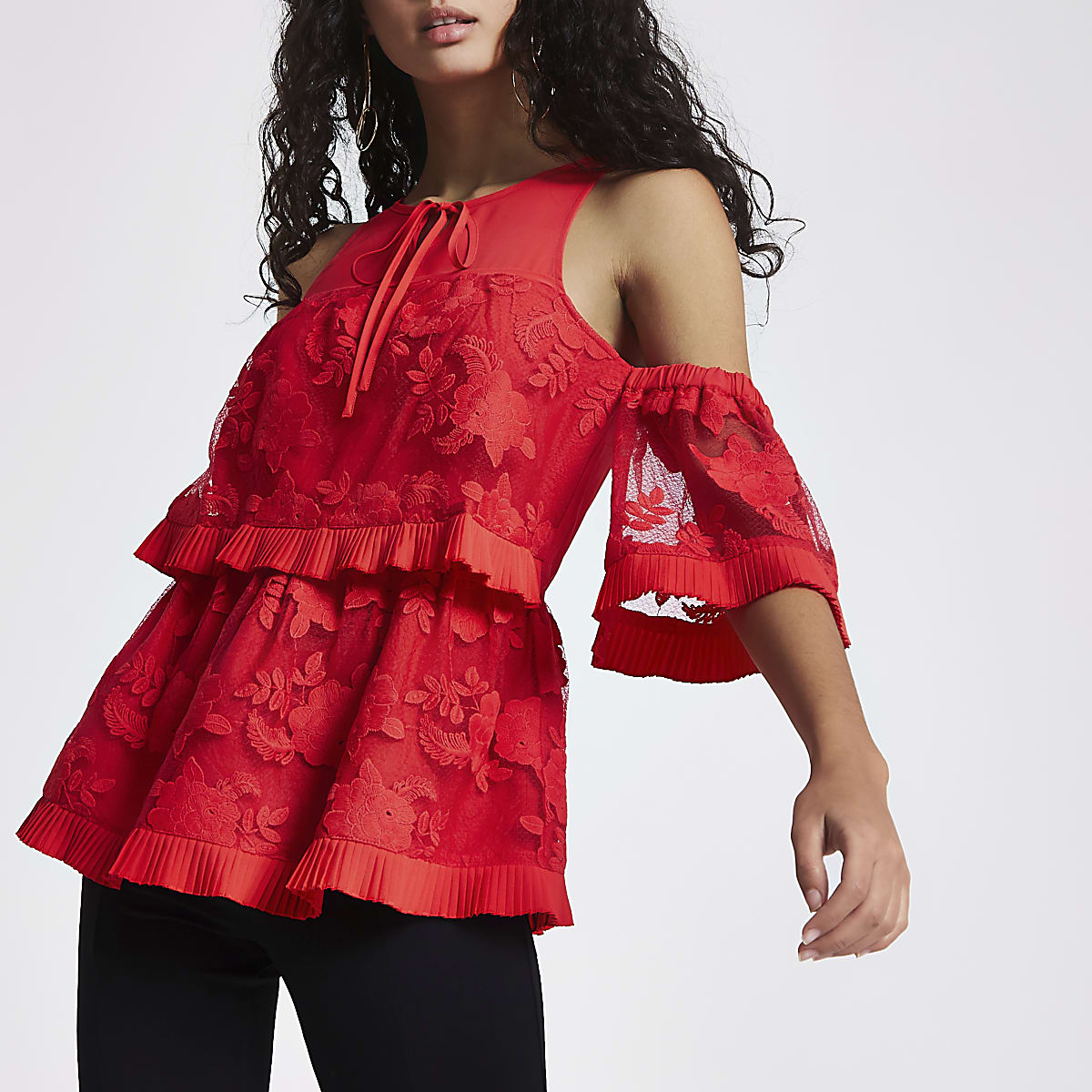 Red lace frill cold shoulder top
