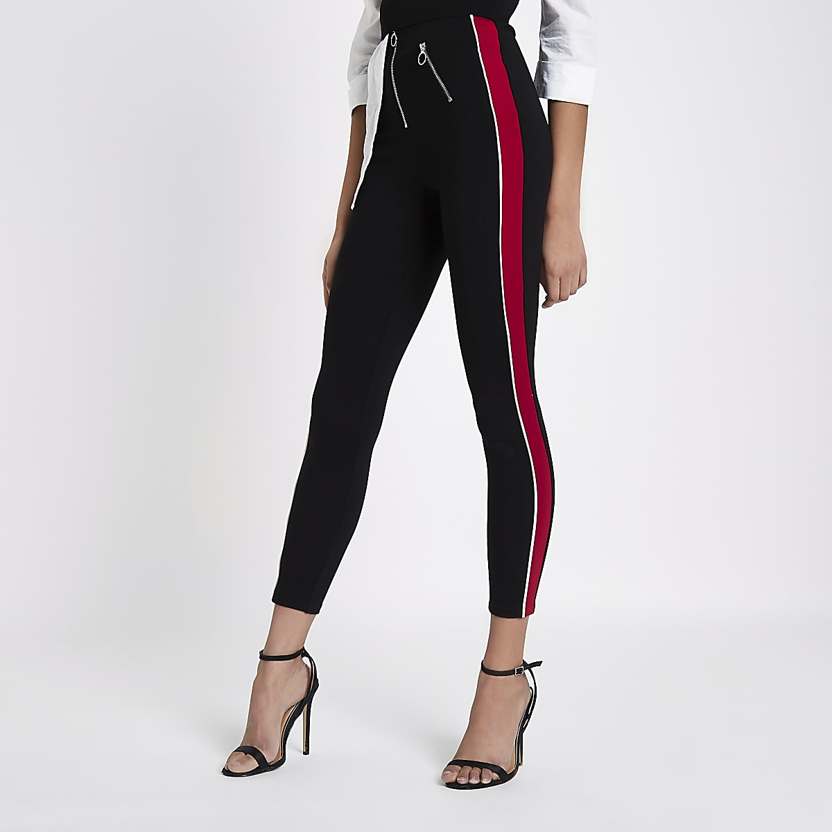 Black stripe side high waisted zip leggings