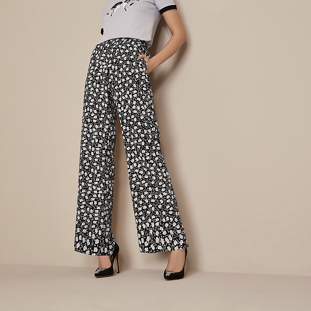 Black Holly Fulton floral wide leg trousers