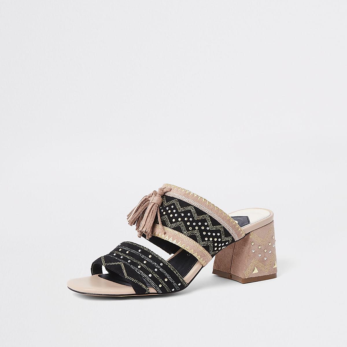 Low Sandals Block Heel Aztec Black 54LRAj