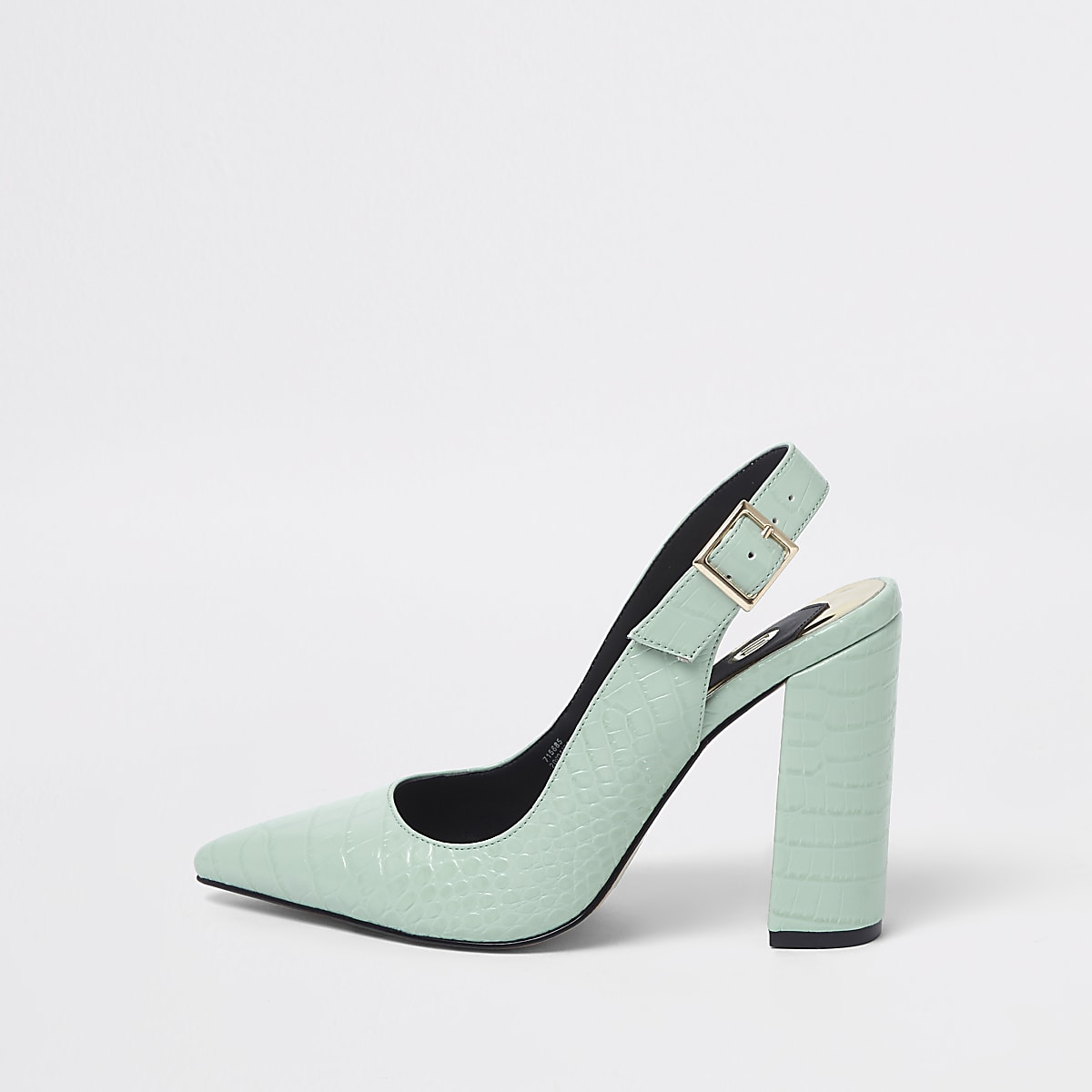 be1556e97 Green croc block heel sling back court shoes - Shoes - Shoes   Boots - women