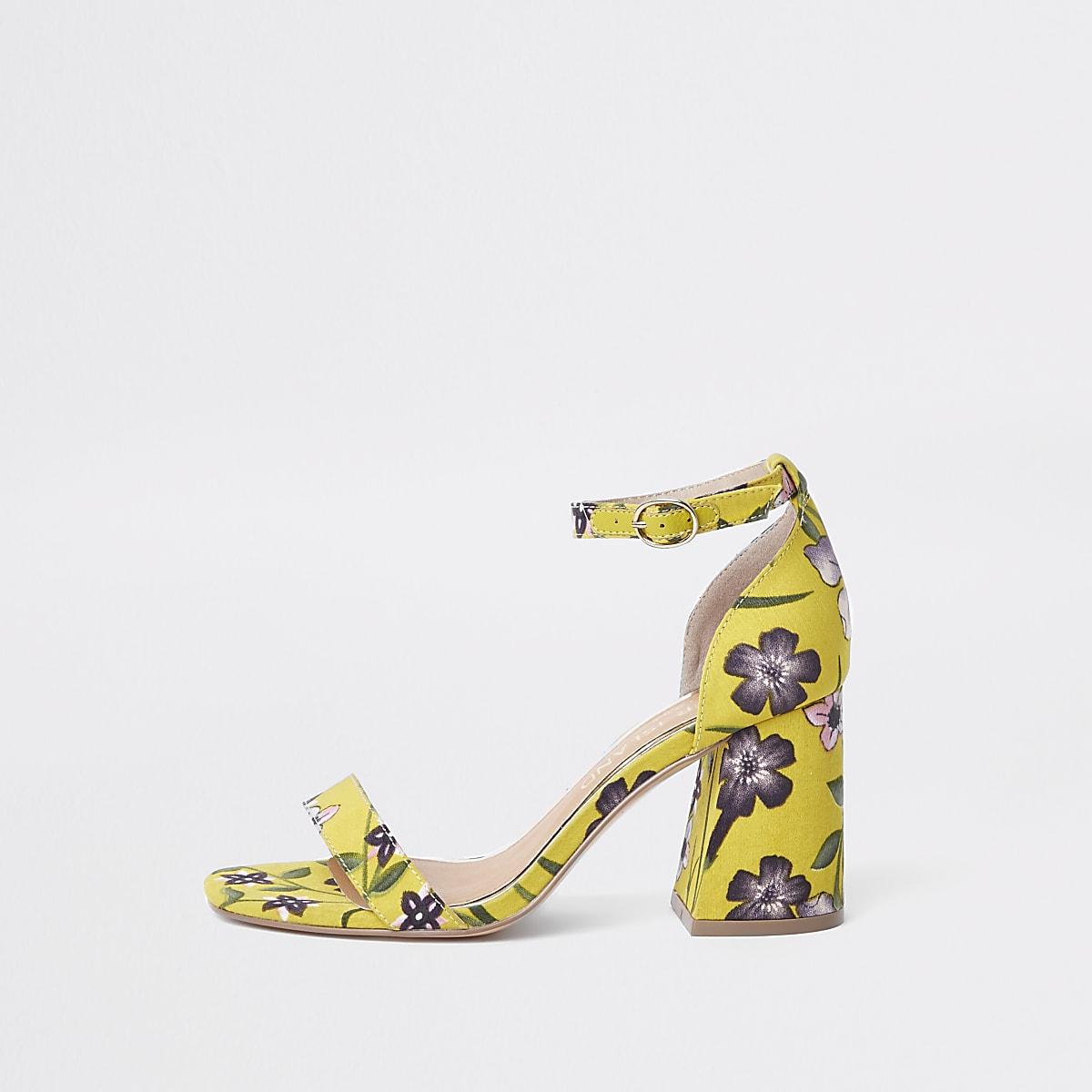 d9d549a99 Yellow wide fit floral block heel sandals - Sandals - Shoes   Boots - women