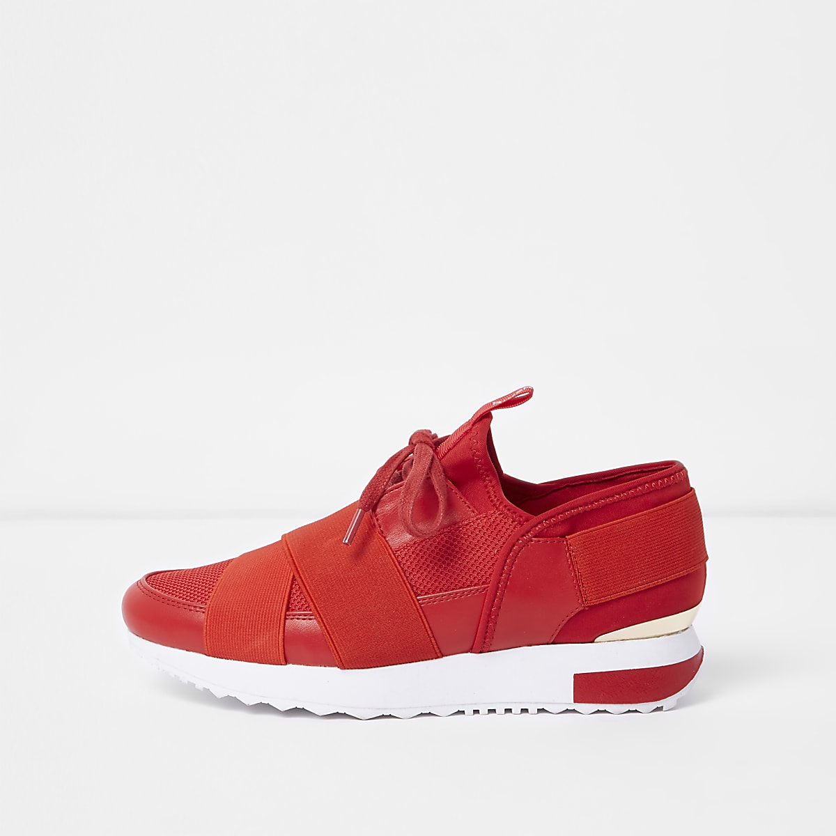 Red elastic lace-up runner trainers