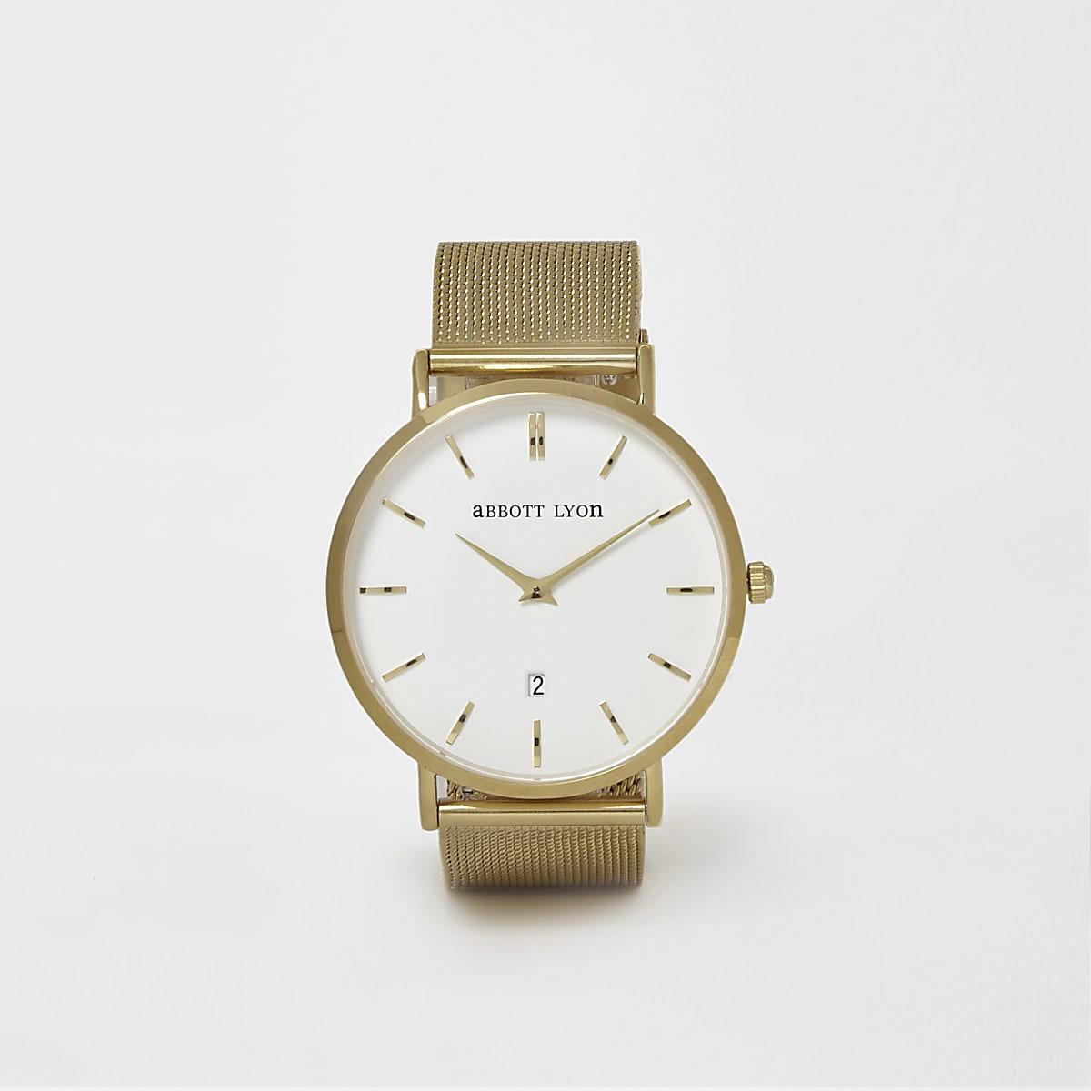 Gold plated mesh Abbott Lyon watch