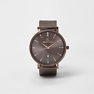 Copper brown Abbott Lyon mesh strap watch