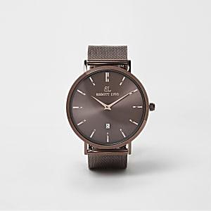 Abbott Lyon – Montre marron cuivre avec bracelet tissé