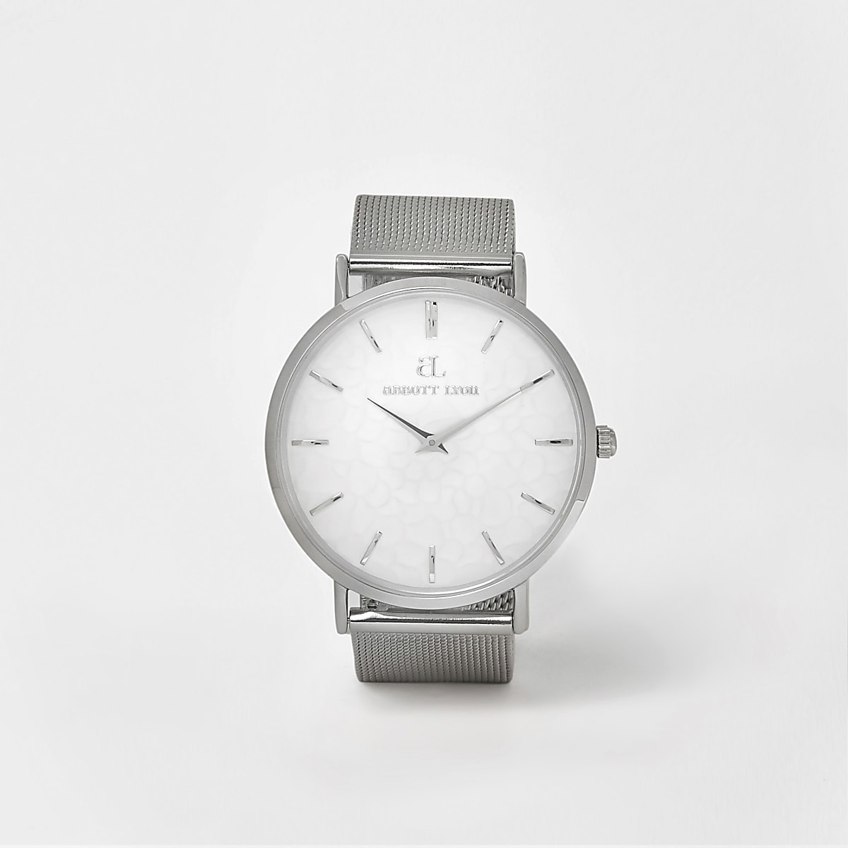 Silver plated Abbott Lyon mesh strap watch