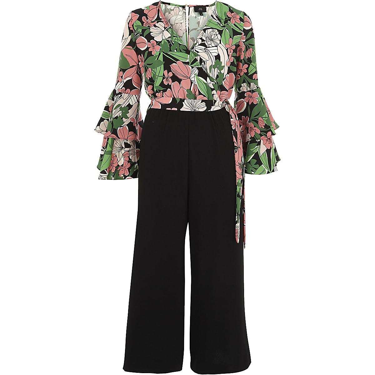 a4dfd7501027 Pink floral wrap frill culotte jumpsuit - Jumpsuits - Playsuits   Jumpsuits  - women