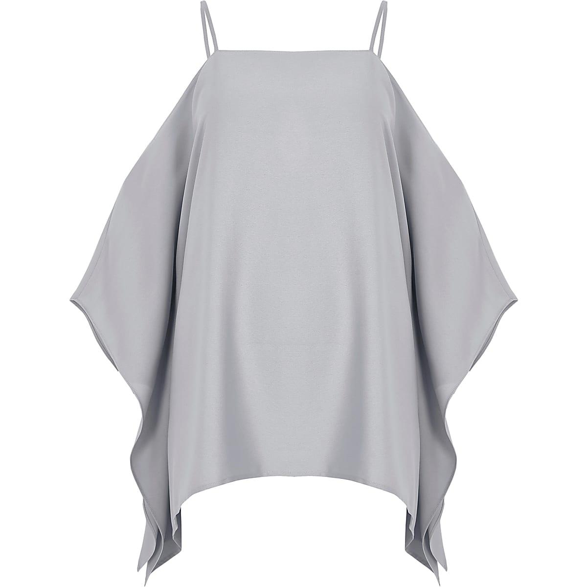 Light grey cape cold shoulder cami top