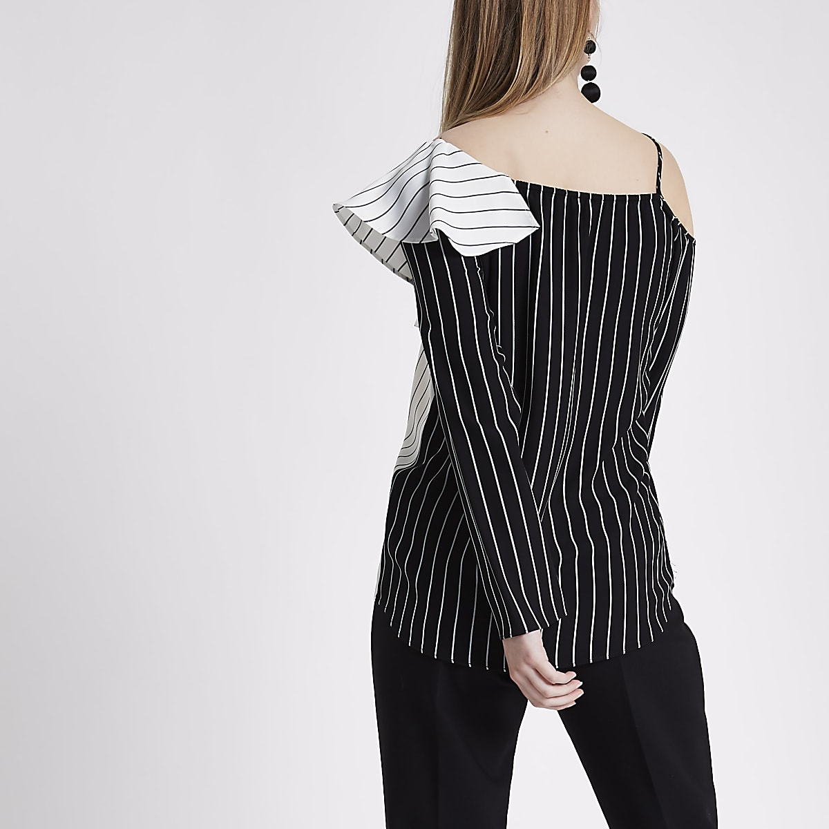 7bee6792f5c7da Black stripe frill one shoulder top - Blouses - Tops - women