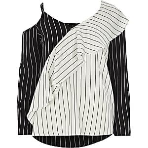 Black stripe frill one shoulder top