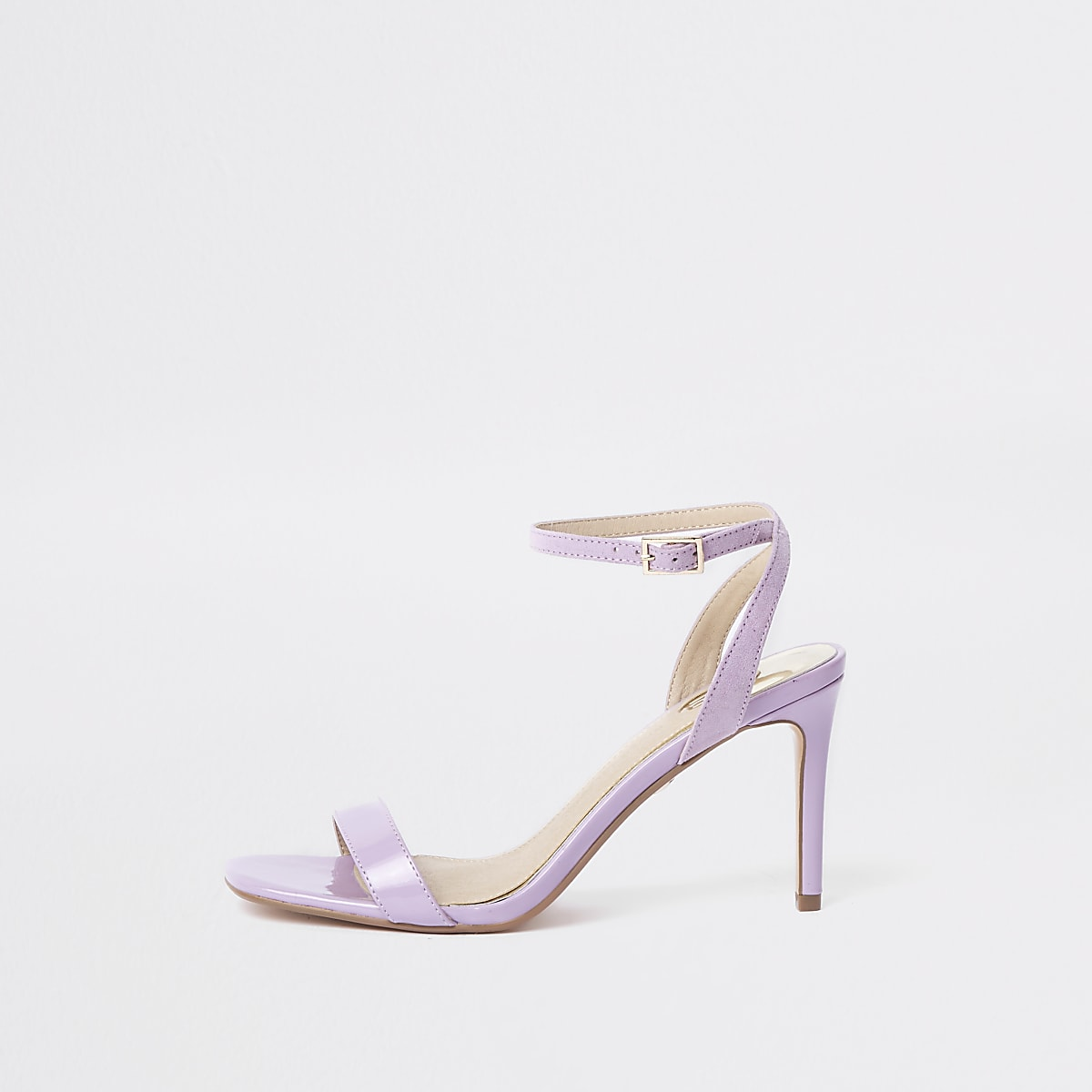 Purple barely there mid heel sandals