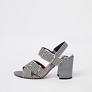 Black stripe two part block heel sandals