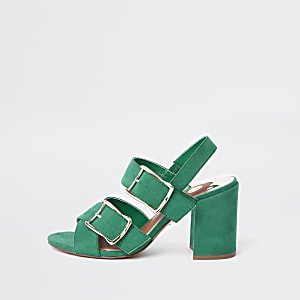 Green double buckle heel sandals