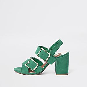 Groene sandalen met twee gespen en hakken