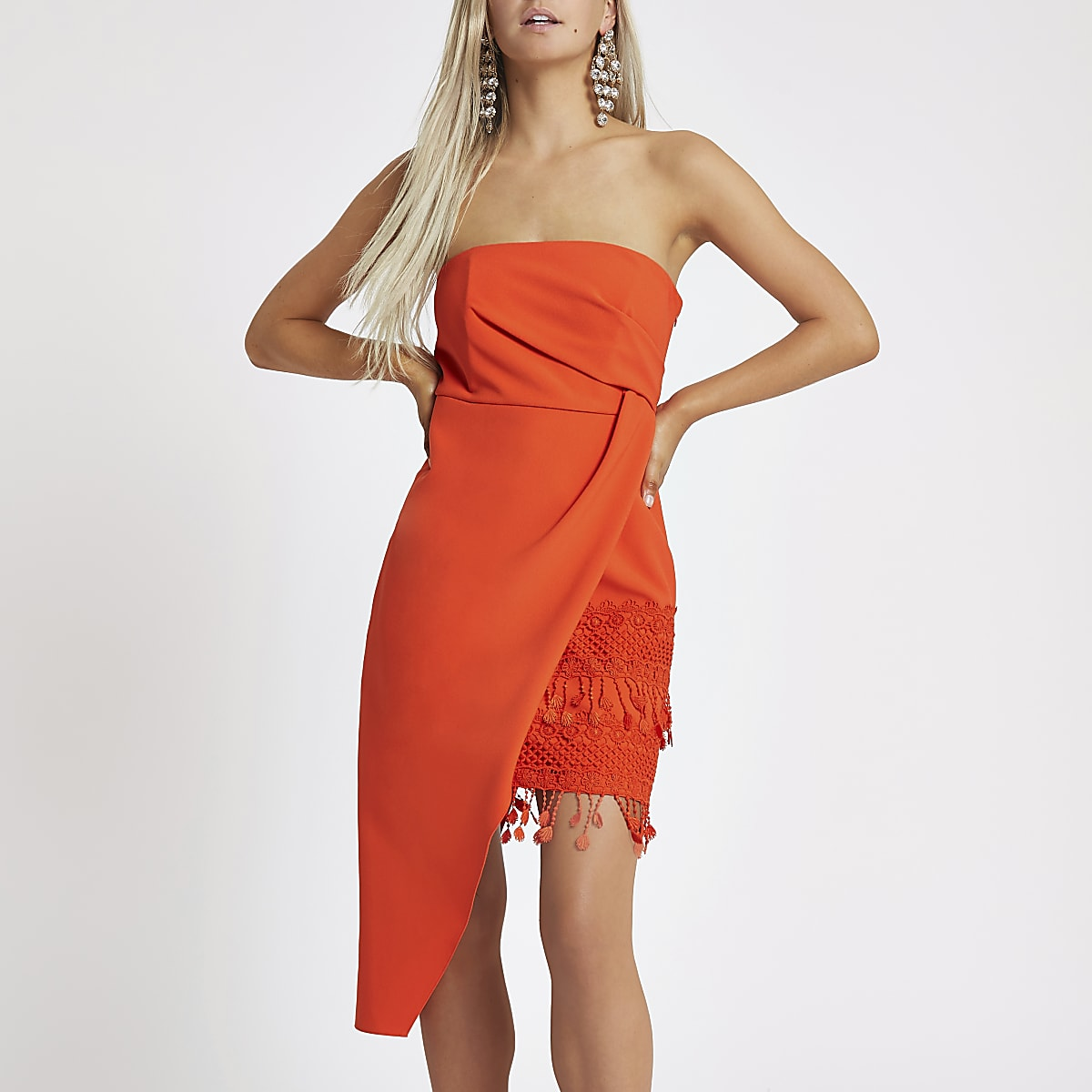 Petite orange asymmetric tassel bodycon dress