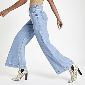 Mila - Lichtblauwe denim jeans met wijde pijpen