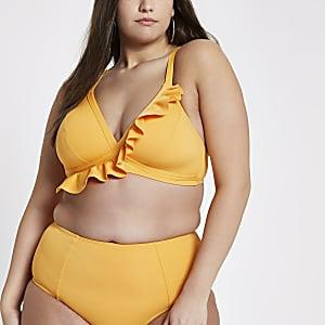Plus orange frill bikini top