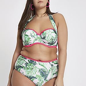 Plus green palm print halter bikini top