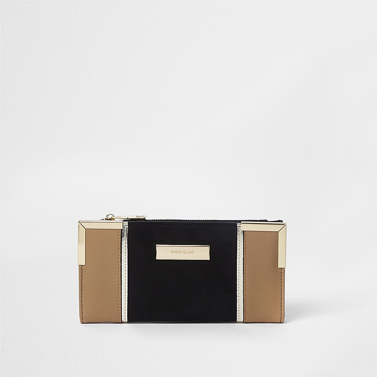 Black and tan panelled slim foldout purse