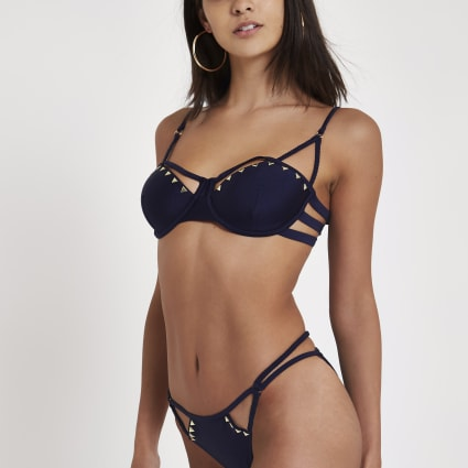 Navy triangle stud strappy bikini bottoms