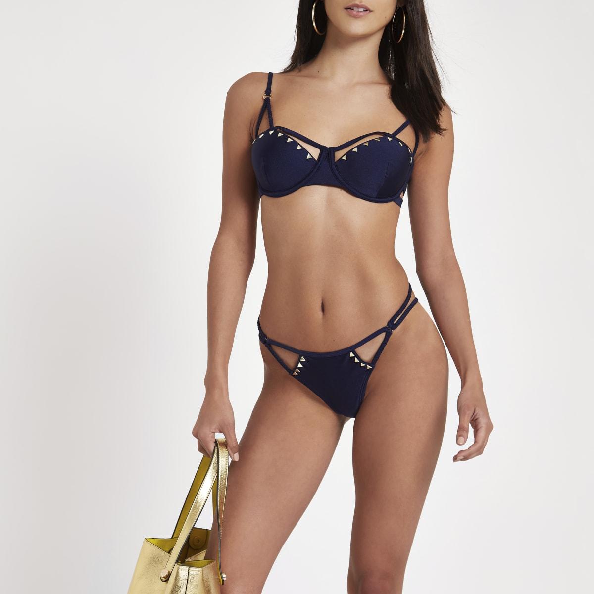 Navy triangle stud strappy bikini top