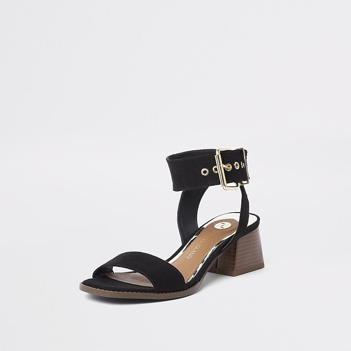 7fb00c22827d Black two part block heel sandals - Sandals - Shoes   Boots - women