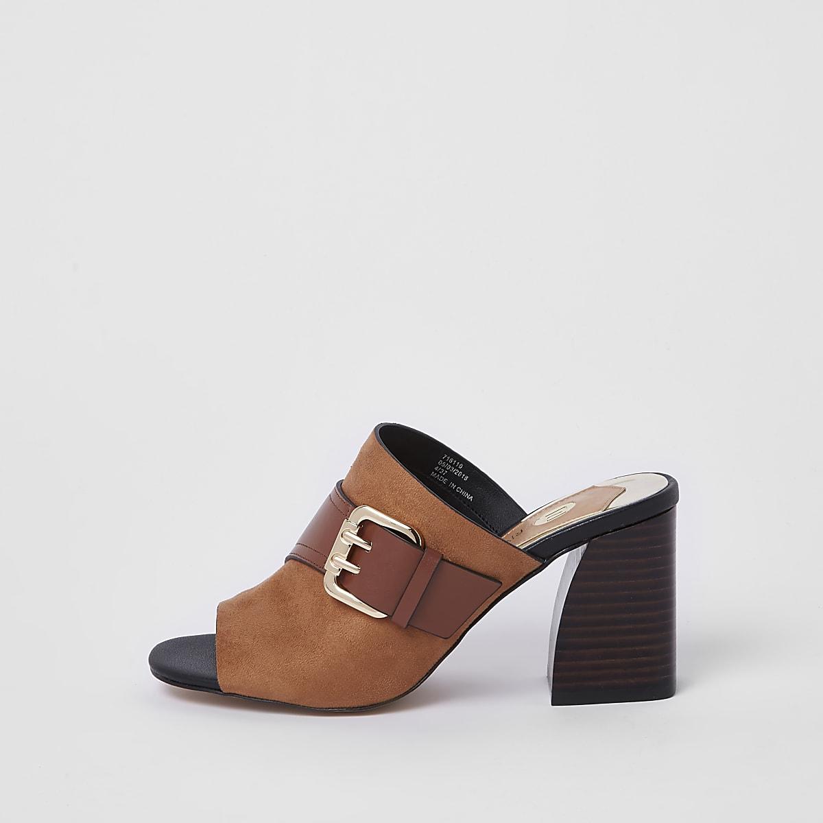 Brown buckle wide fit block heel mule sandals