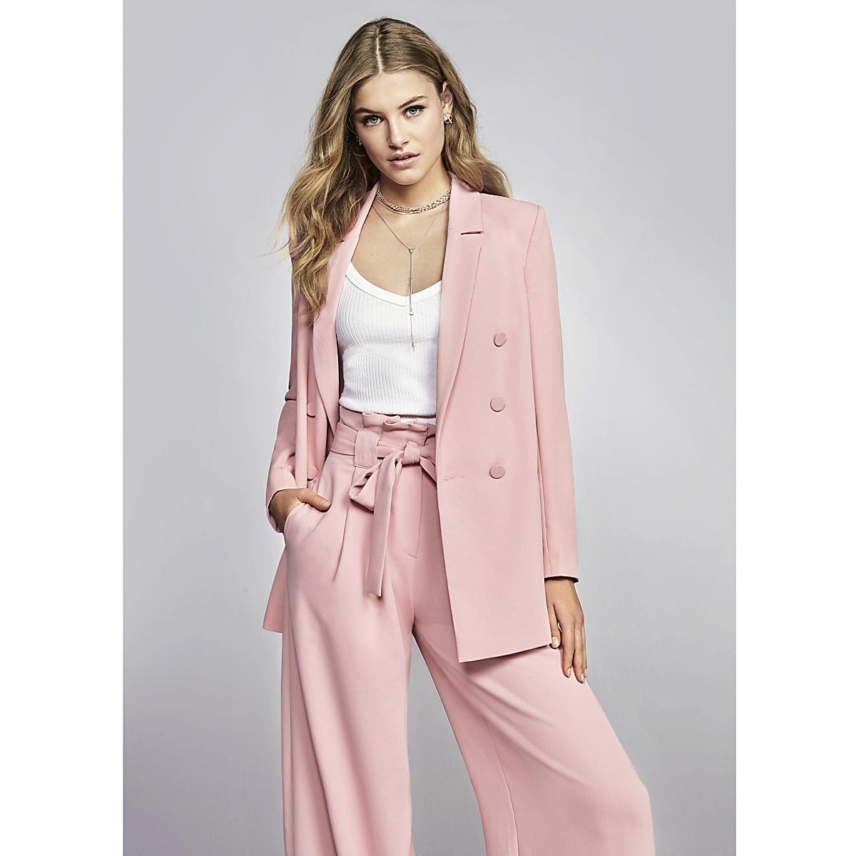 Pink paper bag waist wide leg trousers