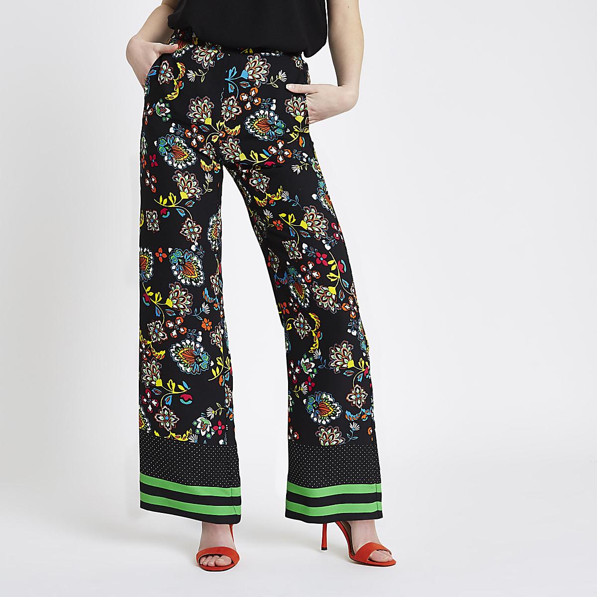 162a030c17 Black floral print wide leg pants - Wide Leg Pants - Pants - women
