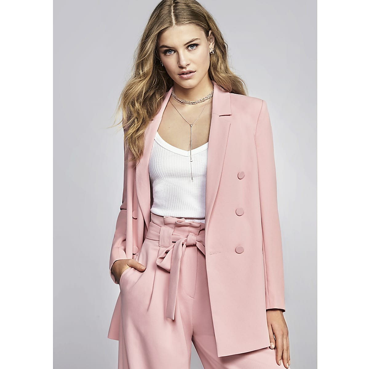 Pink double breasted style blazer