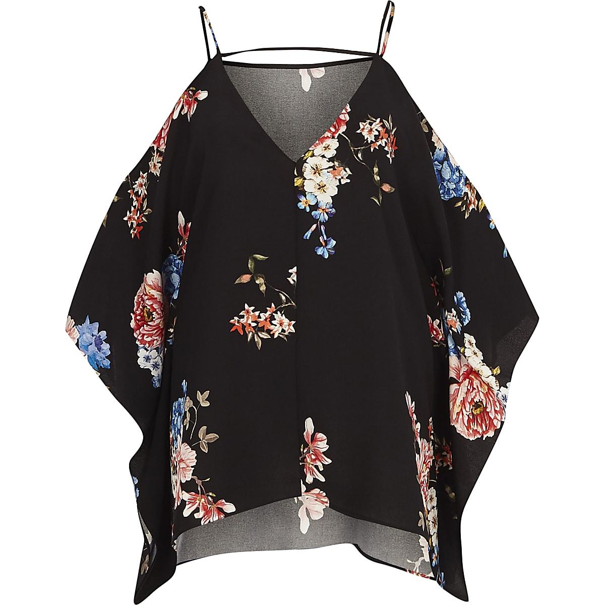 05097a7190910 Black floral cold shoulder cape sleeve top - Bardot   Cold Shoulder Tops -  Tops - women