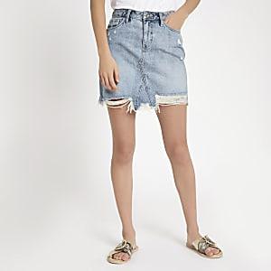 Light blue wash ripped denim mini skirt