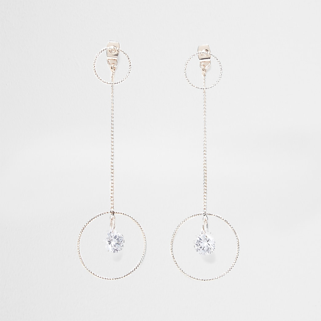 Rose gold colour front and back drop earrings