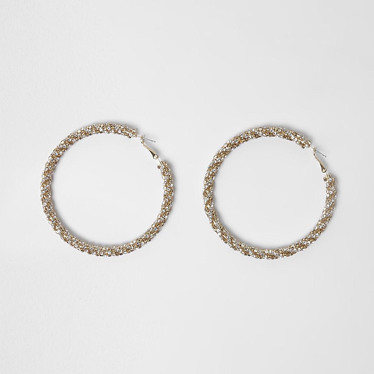 Gold tone sparkle rope hoop earrings