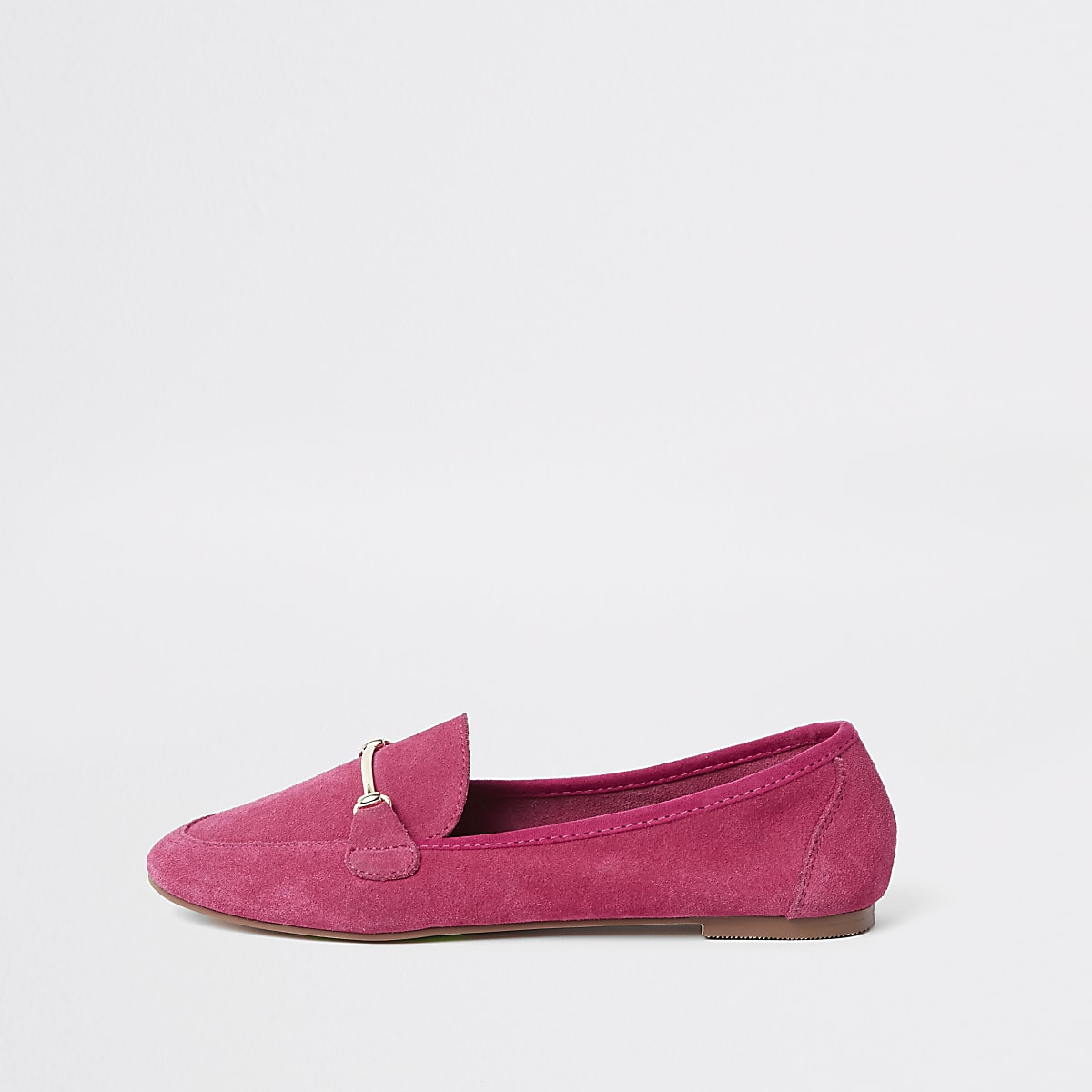 Pink suede snaffle detail loafers