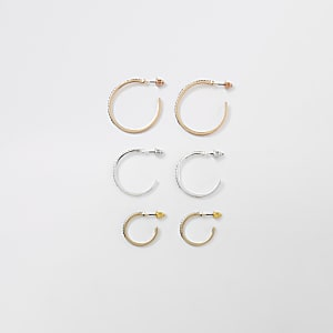 Mix tone diamante pave hoop earrings pack