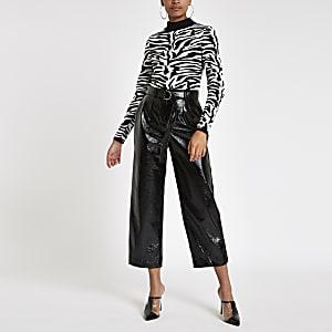 Black vinyl belted wide leg trousers