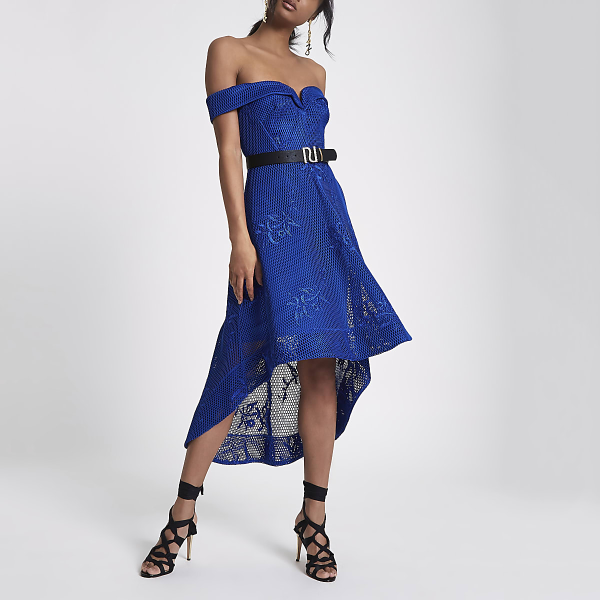 Blue bardot mesh drop hem dress