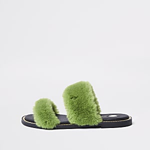 Green faux fur chain trim sandals