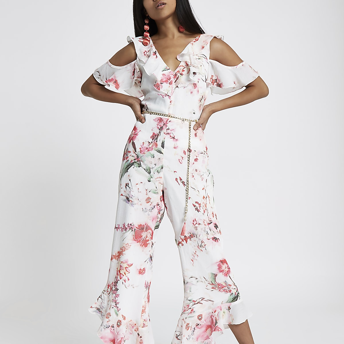Petite cold shoulder pink floral jumpsuit