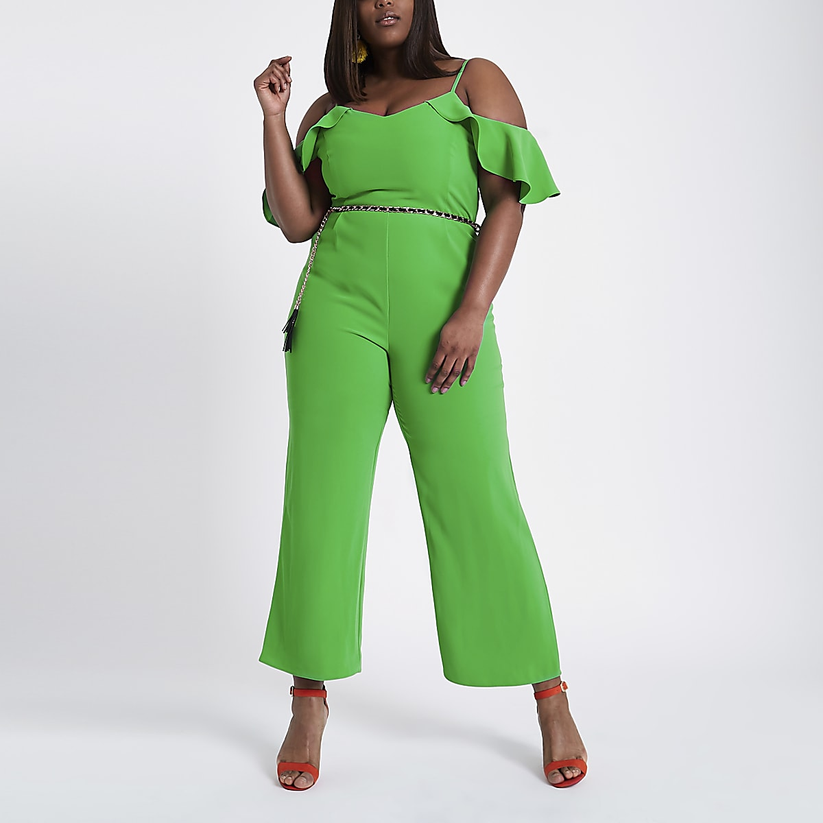 Plus green frill sleeve bardot jumpsuit