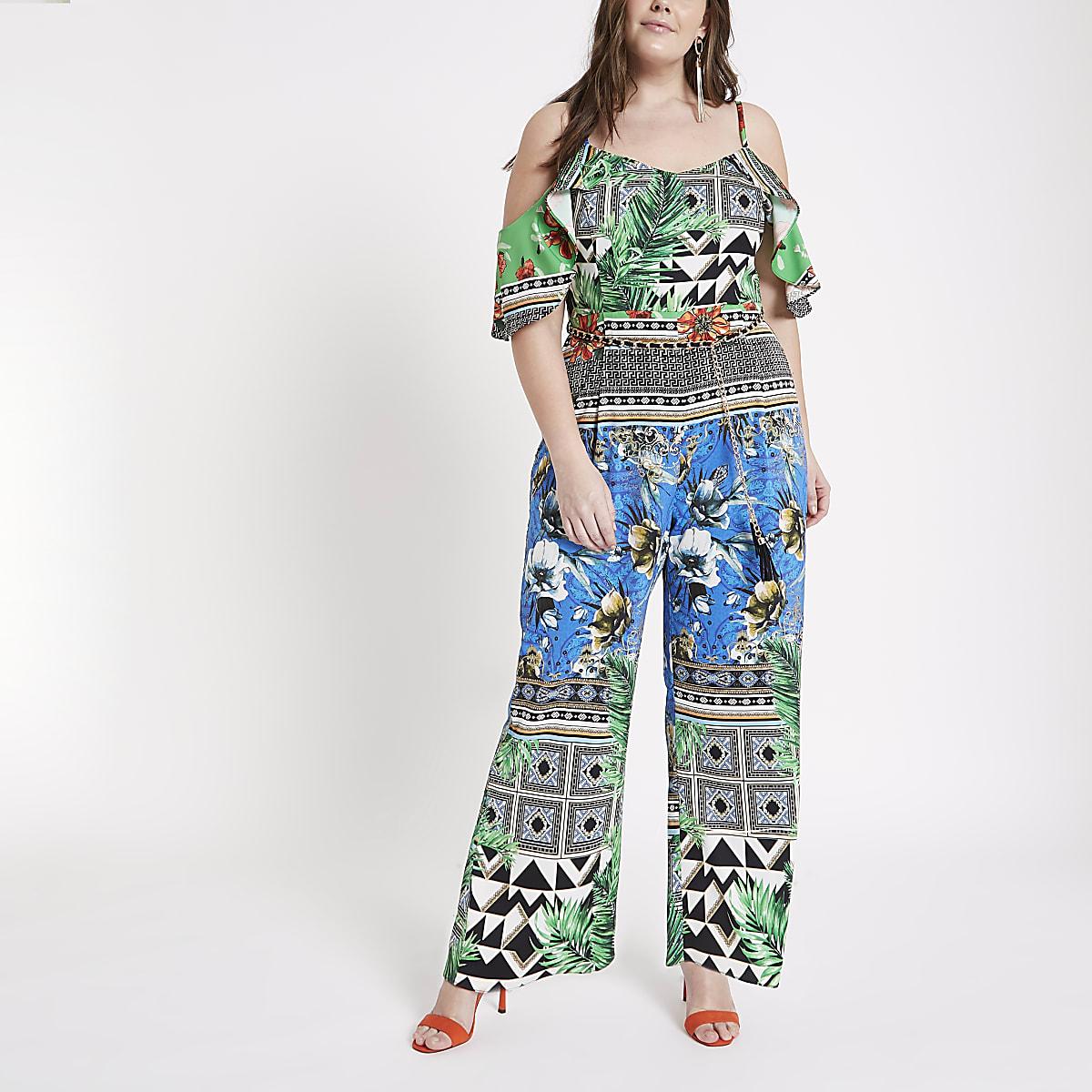 Plus green scarf print bardot jumpsuit