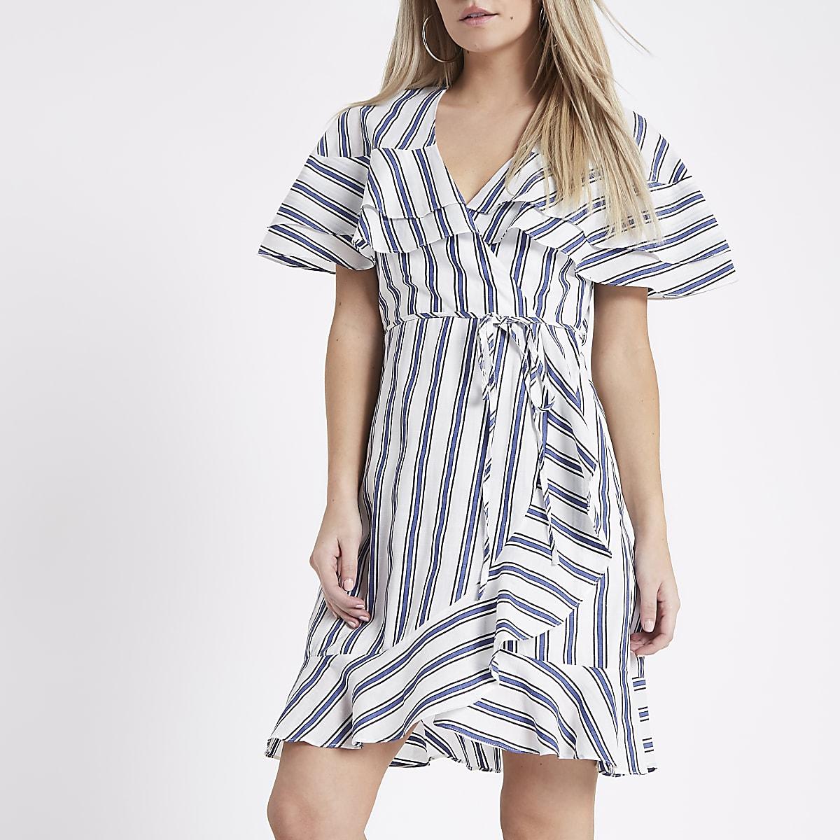 Petite blue stripe wrap frill hem dress
