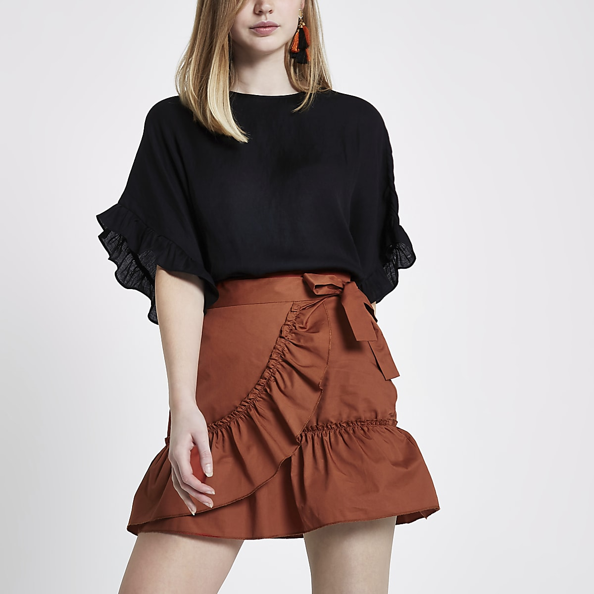 780f8671fe Rust orange poplin frill wrap mini skirt - Mini Skirts - Skirts - women