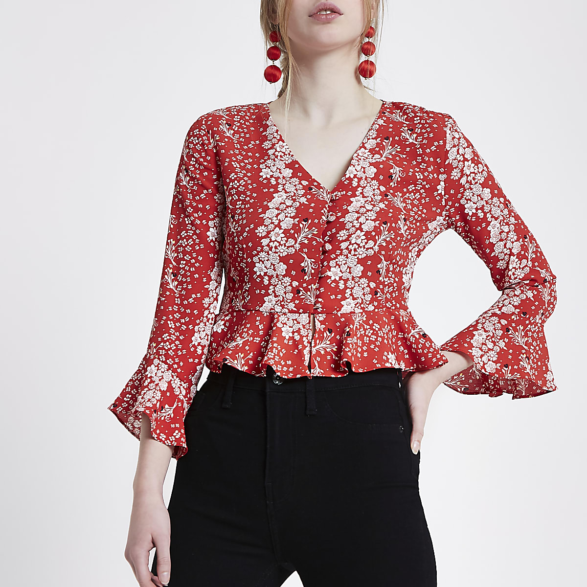 Red floral frill hem bell sleeve crop top