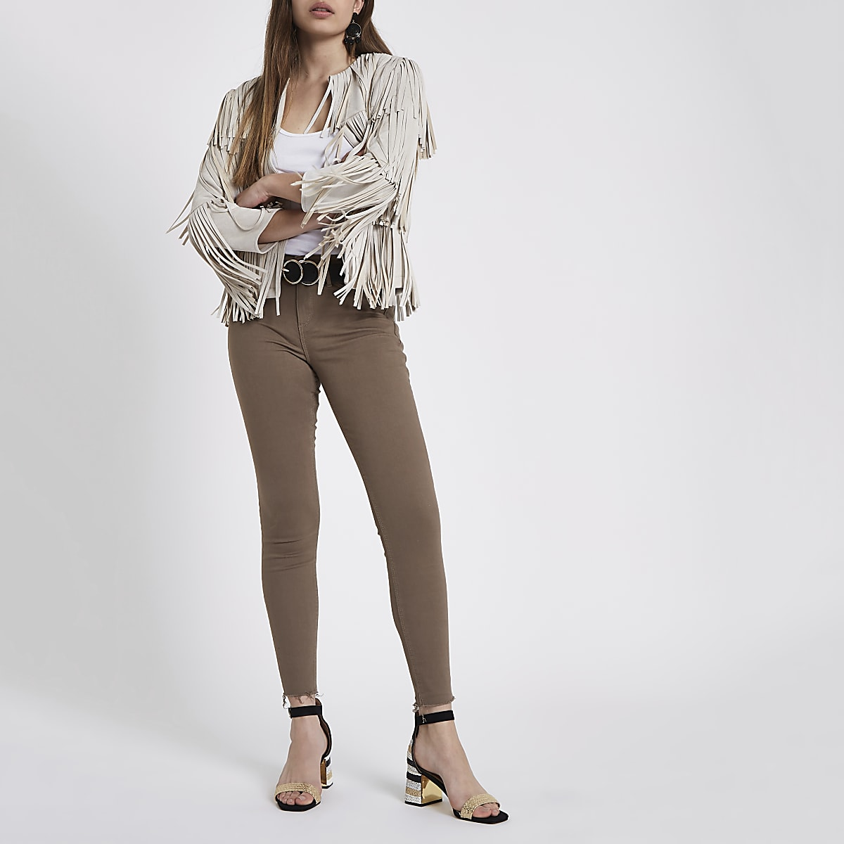 Khaki Molly mid rise ripped hem jeggings